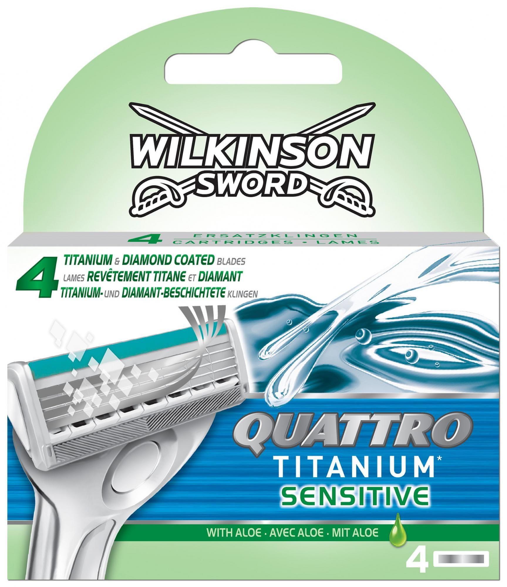 Wilkinson Sword Quattro Titanium Sensitive Borotvafej készlet, 4 db