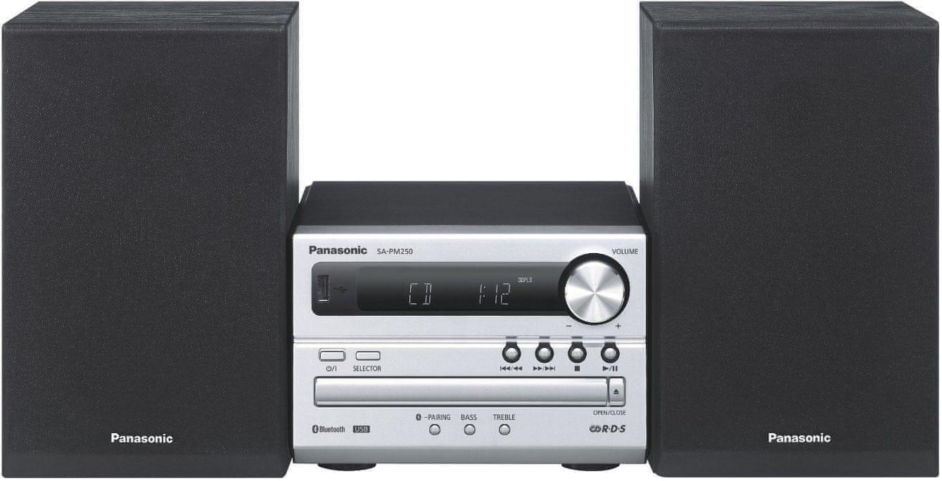 PANASONIC SC-PM250EC-S Mikro Hifi (Bluetooth, USB, CD/MP3 lejátszás, 20 W RMS teljesítmény)