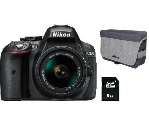 NIKON D5300 + AF-P 18-55 VR Kit + 8Gb Memóriakártya + Táska