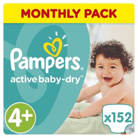 Pampers Active Baby Pelenka, 4+ Maxi, 9-16 kg, 152 db